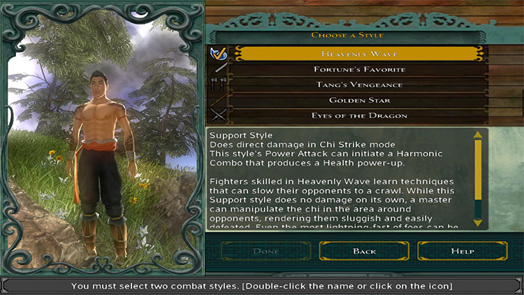 Weapon Starting Styles Jade Empire Mod menu screenshot