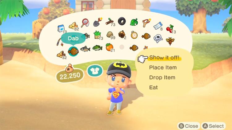 Increased Items stack ACNH Mod item menu screenshot