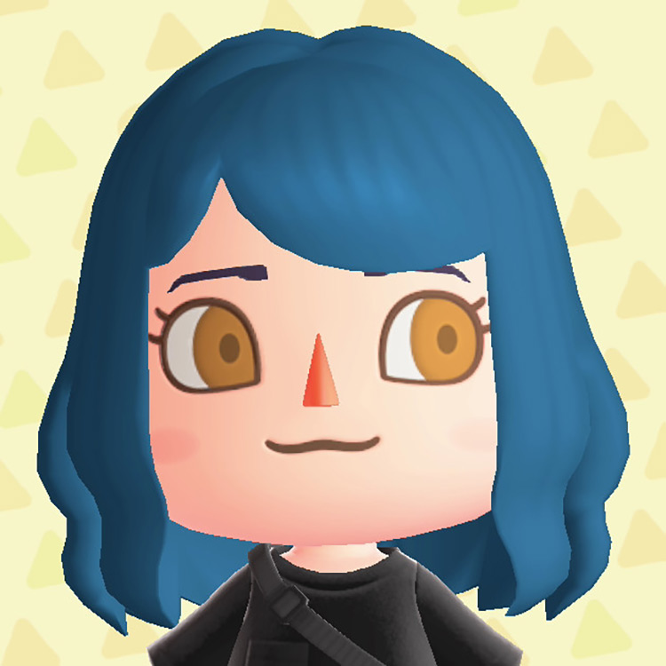 Blue haired character Hair & Eye remover ACNH mod