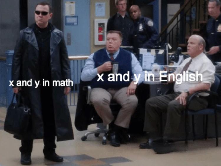 X in spelling vs x in math - Charles B99 meme