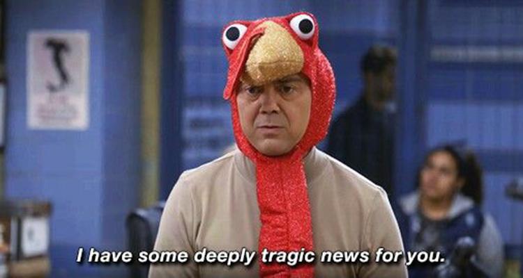 Charles Boyle turkey costume B99 meme