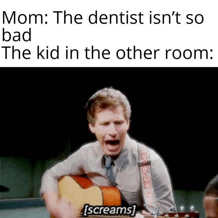 Peralta playing bad guitar dentist screaming
