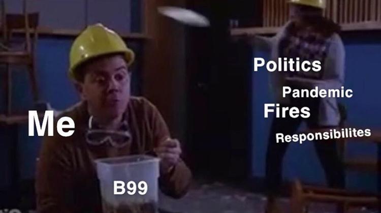 Charles Boyle eating soup meme