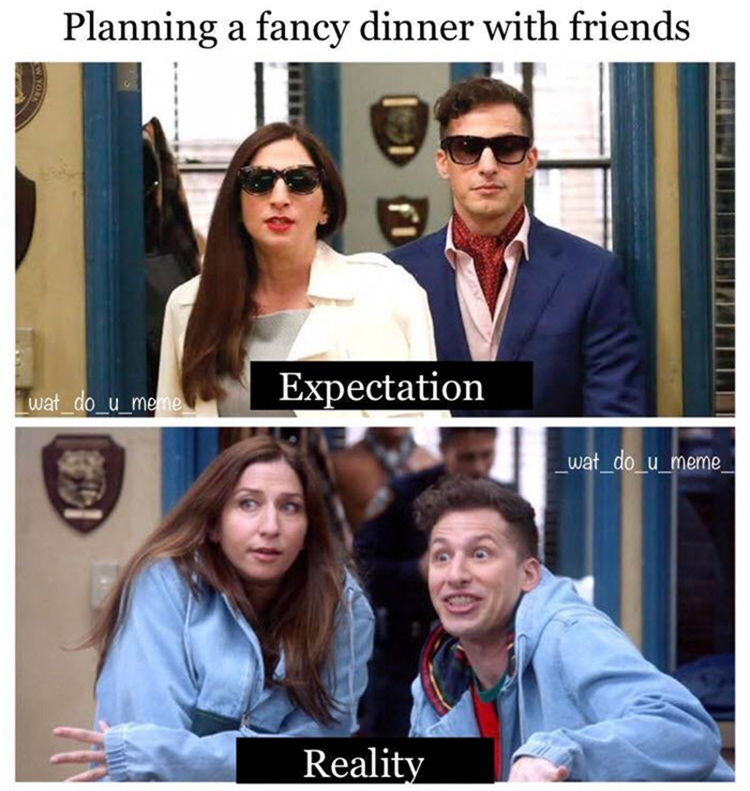 Gina and Peralta friends dinner meme