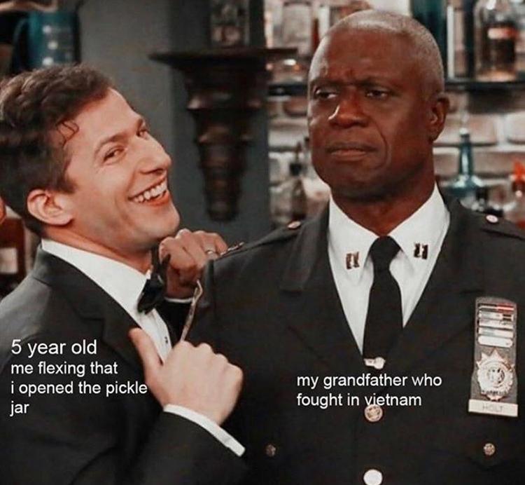 Pickle jar opening meme Jake and Holt