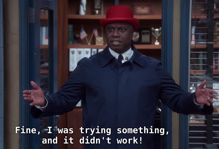 Captain Holt red hat meme