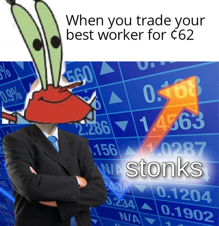 Mr Krabs Stonks meme