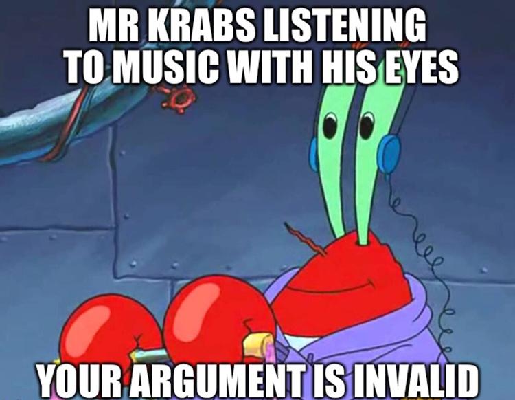 Mr Krabs listens in his eyes