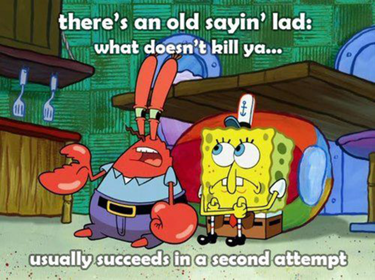 Mr Krabs what doesnt kill ya, usually succeeds in the second attempt