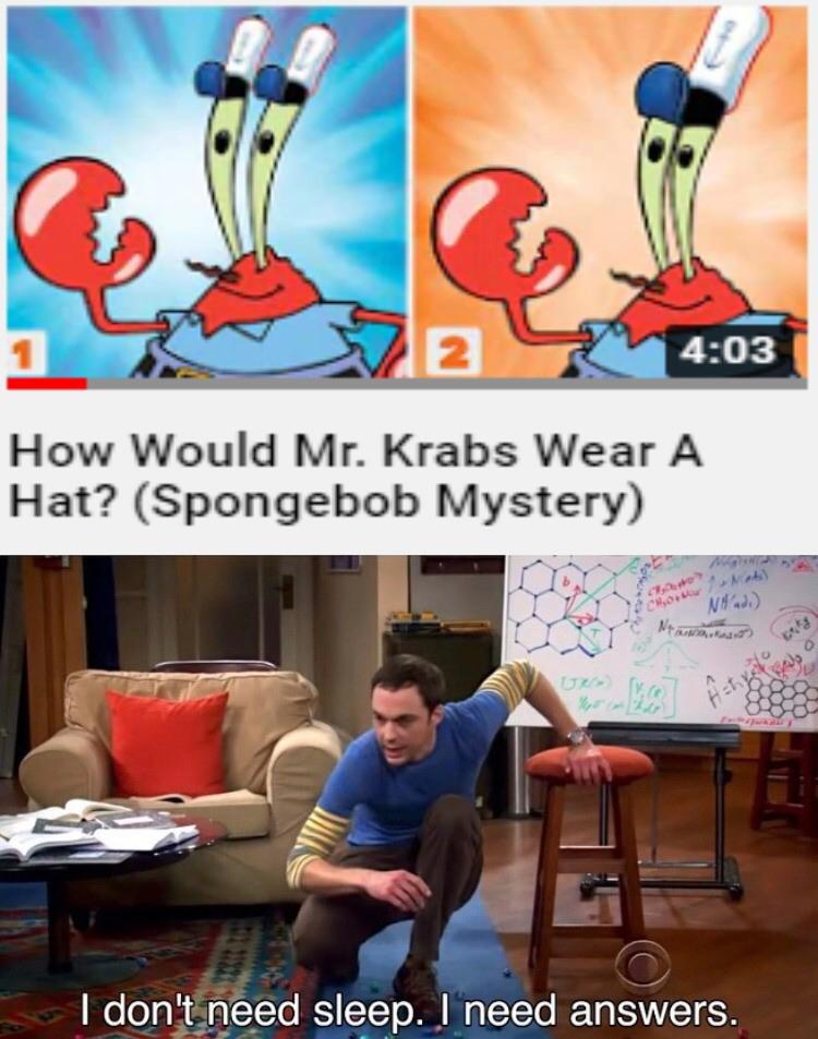 Mr Krabs wearing hats meme