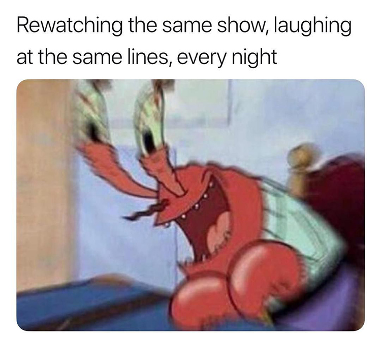 Laughing at the same show meme
