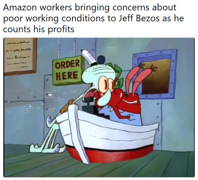 Amazon employees Mr Krabs meme