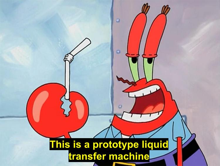 Mr Krabs liquid transport meme