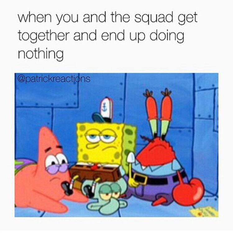 Krabs, Patrick, Spongebob bored meme
