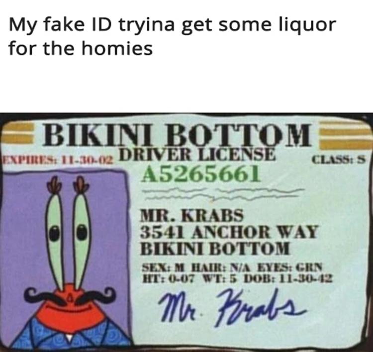 Mr Krabs fake ID meme