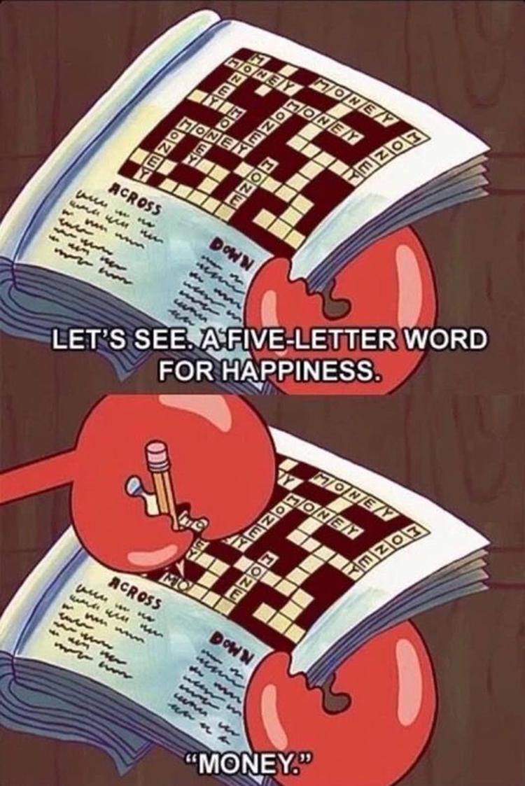 Mr Krabs crossword meme