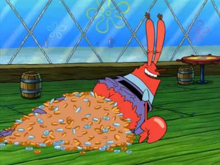 Mr Krabs pile of coins meme