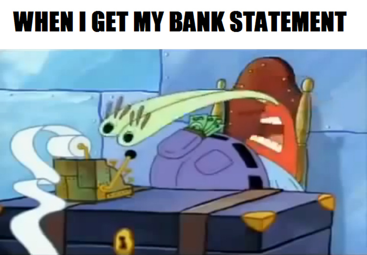 Looking at my bank statement meme