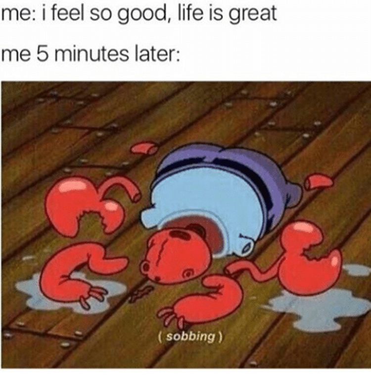 Life is great vs 5 minutes later