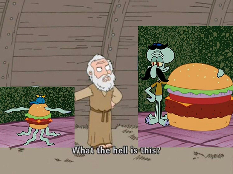 Squidward mating krabby patty - family guy crossover meme