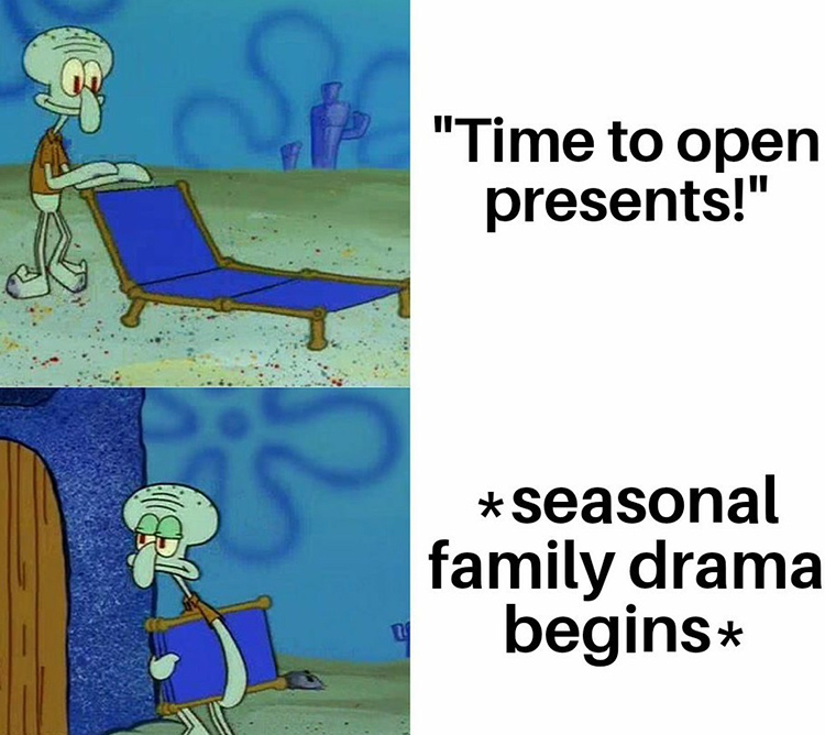 Squidward time to open presents meme