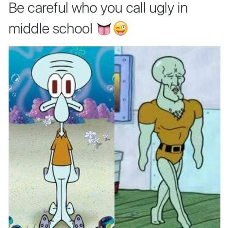 Squidward middle school glow up meme