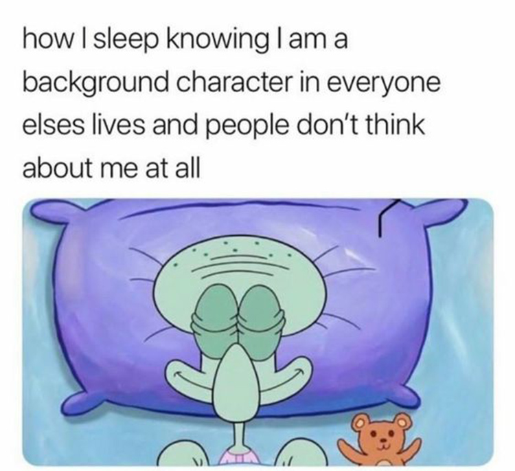 Background character meme with Squidward