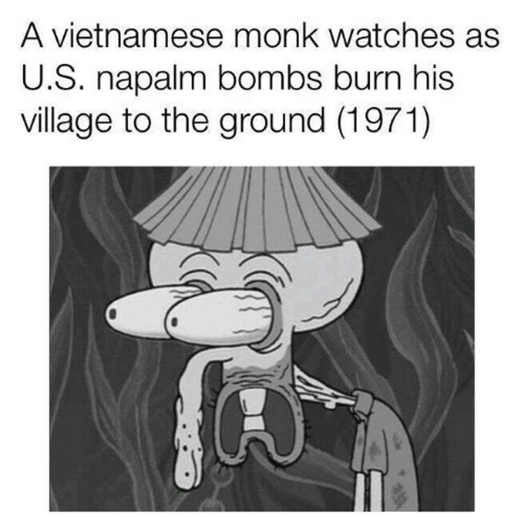 Squidward vietnam farmer meme