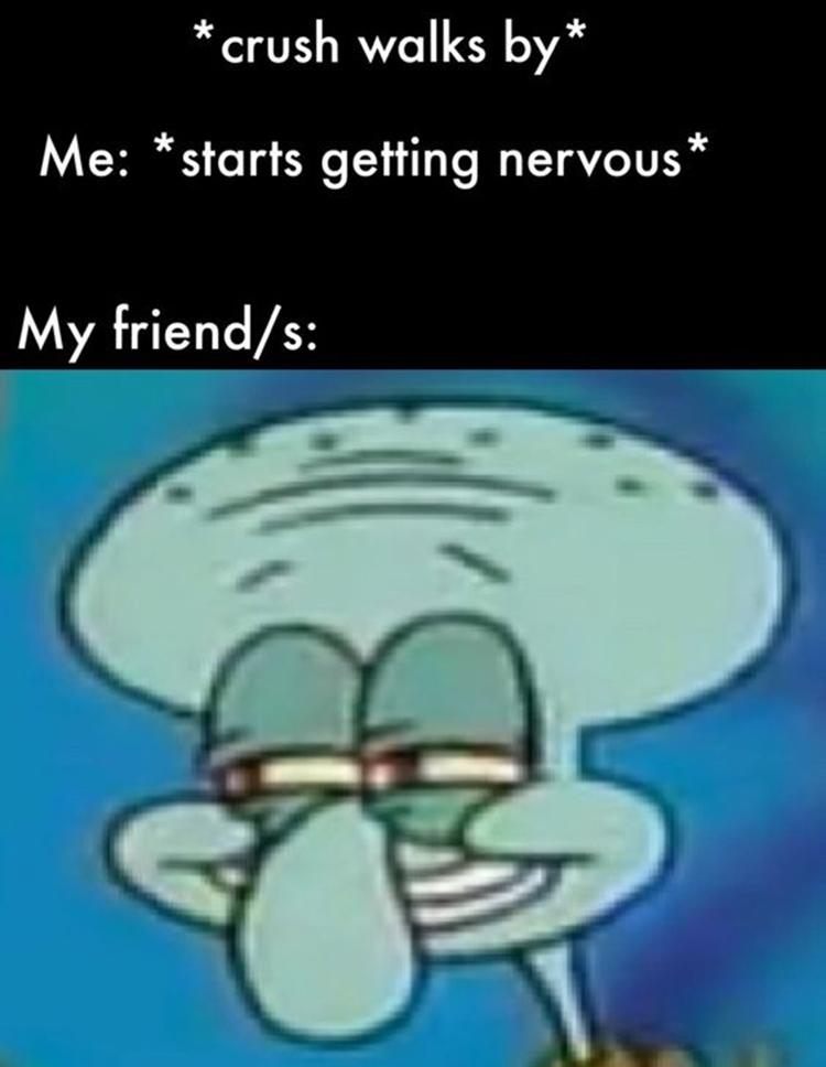 Nervous laughter Squidward meme
