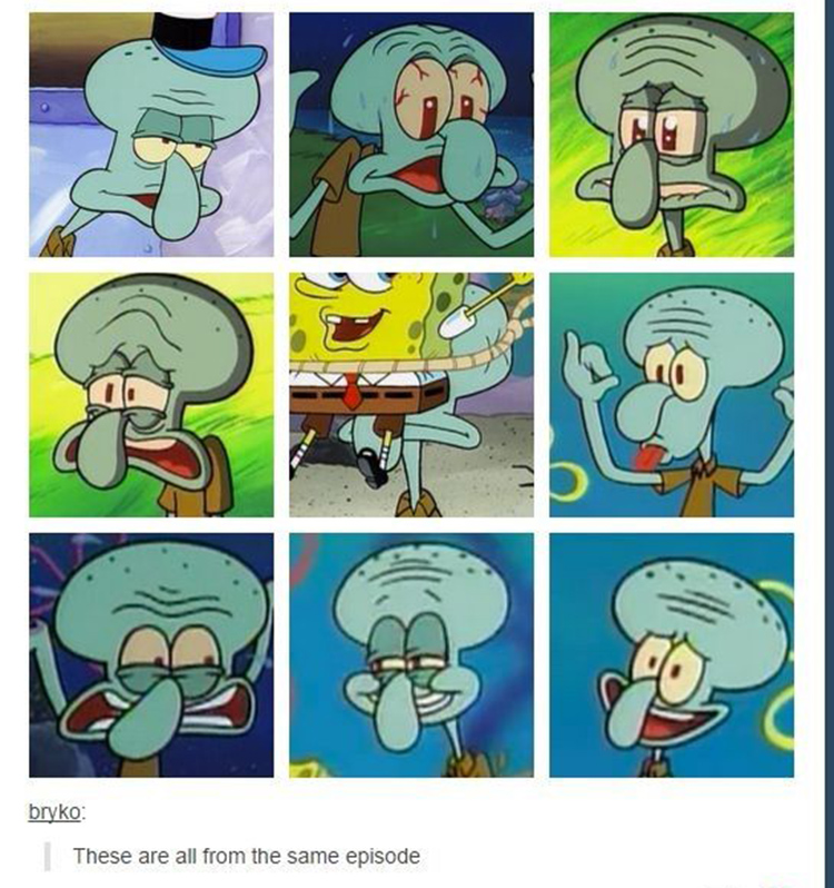 Squidward moods from the same episode