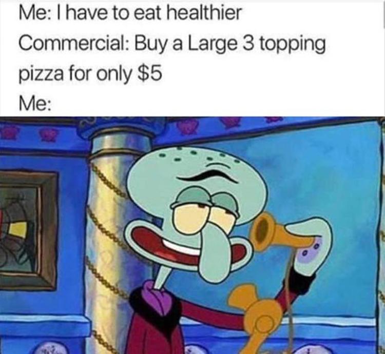 Ordering pizza as Squilliam meme