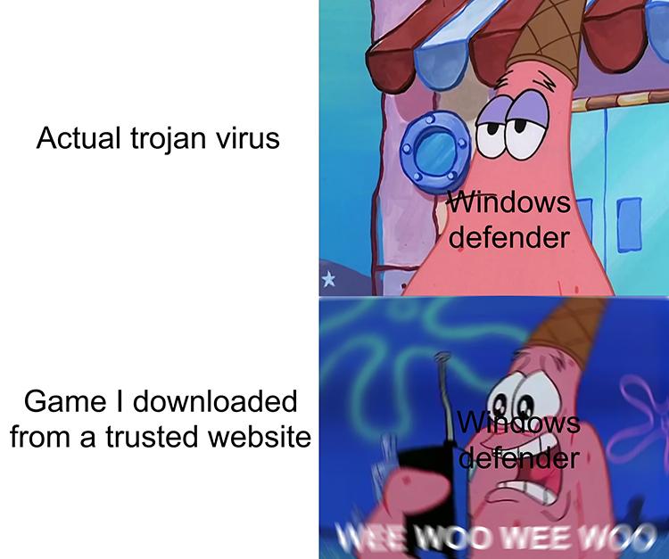 Windows Defender Patrick Star meme