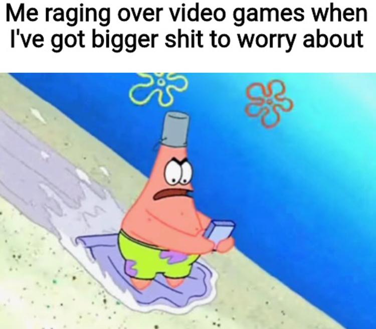 Patrick playing video games meme
