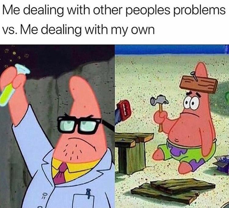 Patrick solving problems meme