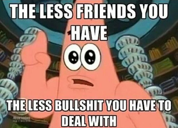 The less friends, the better you are meme