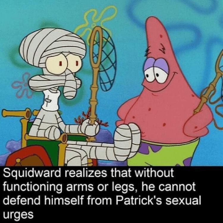 Squidward and Patrick meme