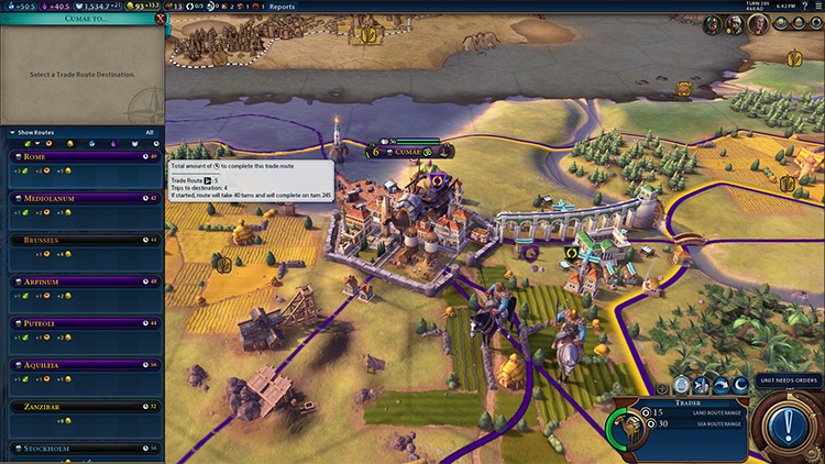Better Trade Screen Civilization VI mod