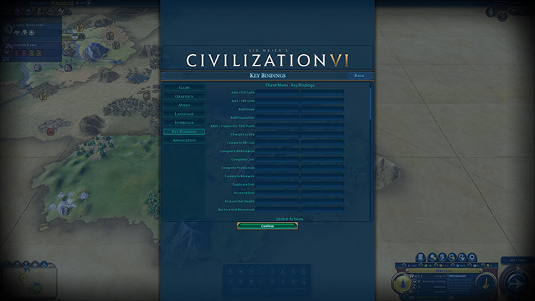 Cheat Menu Panel mod for Civilization VI