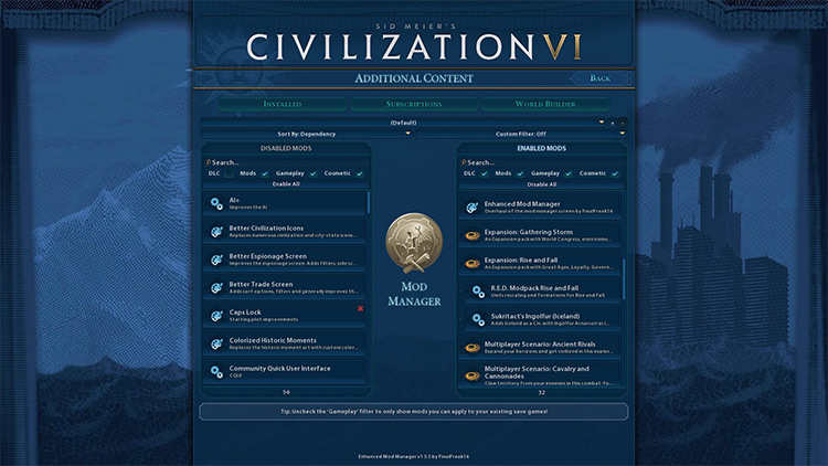 Enhanced Mod Manager Civilization VI screenshot