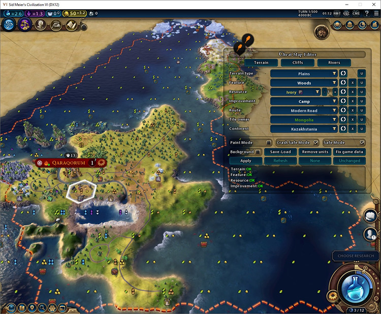 Cheat Map Editor mod for Civilization VI