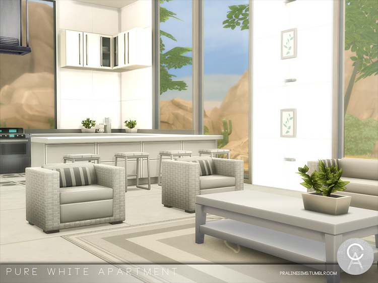 Pure White Apartment Sims 4 mod