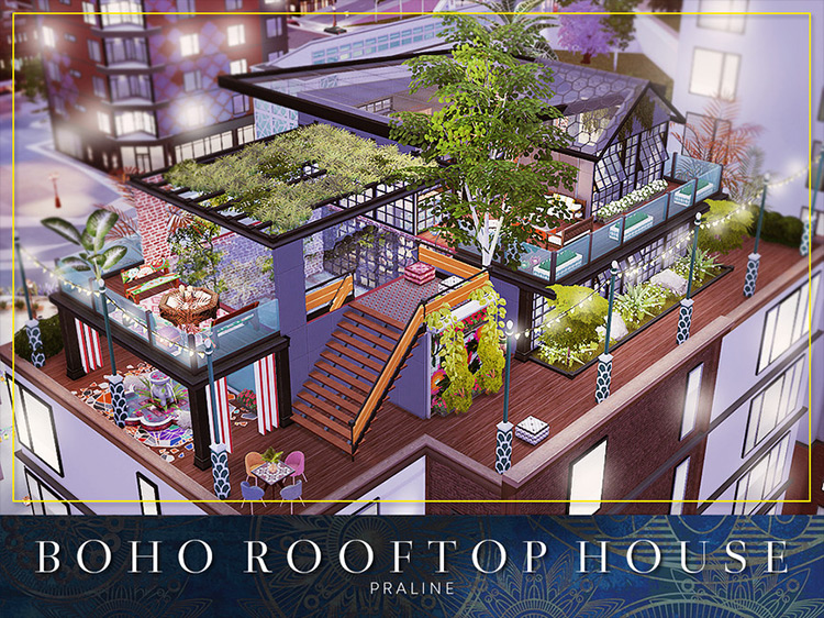 Boho Rooftop Sims 4 mod screenshot