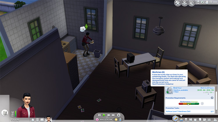 Mortician career mod in Sims 4