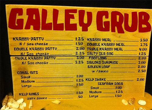 Krusty Krab real Galley Grub menu sign from SpongeBob