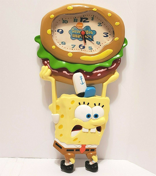 Rare 2004 SpongeBob vintage wall clock, Nickelodeon merch