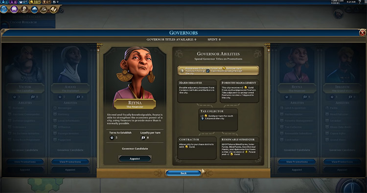 Reyna Governor in Civilization 6