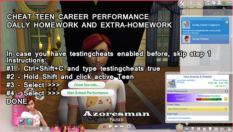 Cheat Teen HighSchool Performance and Homework Fully Done for the Day Mod by azoresman Sims 4