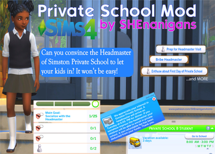 Simston Private School Mod by SHEnanigans for The Sims 4