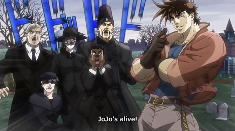 Joseph crashes his own funeral from JoJo's Bizarre Adventure anime