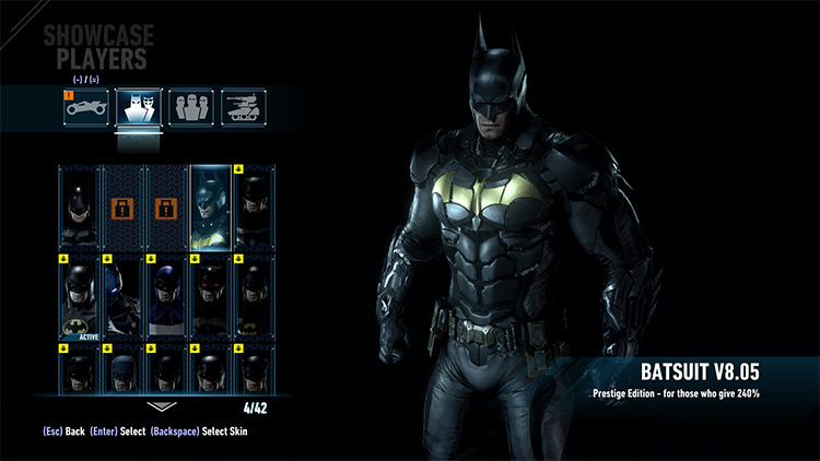 Prestige Suit at the Start of the Game for Batman Arkham Knight